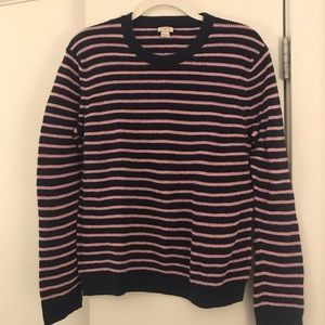 Navy and pink striped crew neck J Crew sweater